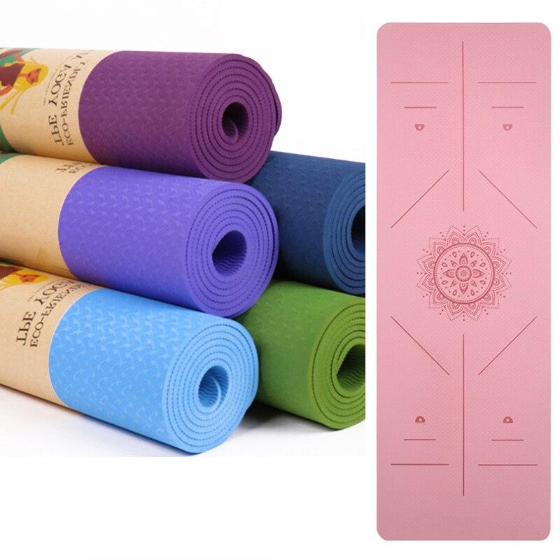 Yoga Mat 1830*590*6mm TPE Yoga Mats Position Line Non Slip Mat Yoga Beginner Environmental Fitness Gymnastics Mats Exercise Mat